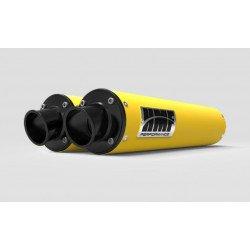 Silencieux HMF Performance Series double jaune/casquette Turn Down noire Can Am Renegade 1000 - Non homologué pour la route