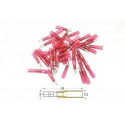 Bout à bout mâle rond à sertir thermo-rétractable BIHR Ø0,5mm²/1,5mm² - 50pcs transparent rouge