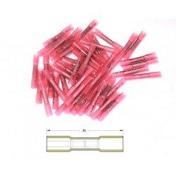 Bout à bout à sertir thermo-rétractable BIHR Ø0,5/1,5mm² - 50pcs transparent rouge