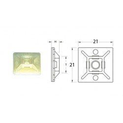 Attaches adhésives BIHR 21x21mm blanc pour collier nylon