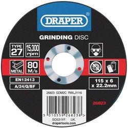 Disque à meuler DRAPER Ø115mm épaisseur 6mm grain 80