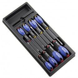 Module d'outils EXPERT 8 tournevis plats/cruciformes - plateau plastique