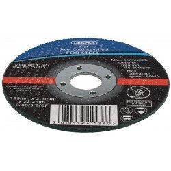 Lot de 10 disques à tronçonner DRAPER Ø115mm épaisseur 1,2mm grain 80