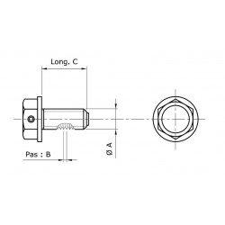 Bouchon de vidange TECNIUM non-aimanté M10x1,25x14 alu noir