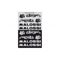 Planches d'autocollants MALOSSI noir/argent par 3