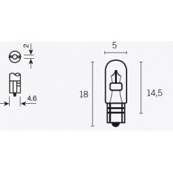 Ampoule V PARTS T5 12V/1.2W culot W2X4.6D 10pcs