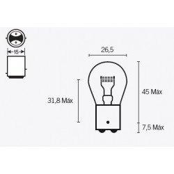 Ampoule V PARTS P21 6V/21/5W culot BAY15d 10 pcs