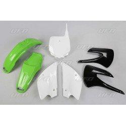Kit plastique UFO couleur origine (2010) restylé vert/noir/blanc Kawasaki KX85