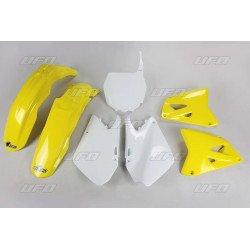 Kit plastique UFO couleur origine jaune/blanc Suzuki RM125/250