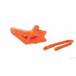 Kit guide chaîne + patin de bras oscillant POLISPORT orange KTM