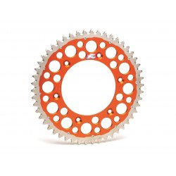 Couronne RENTHAL Twinring® 48 dents Ultra-light anti-boue anodisé dur pas 520 type 2240 orange