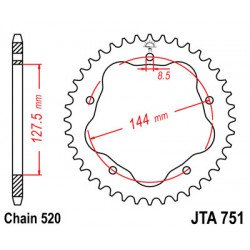 Couronne JT SPROCKETS 36 dents alu ultra-light pas 520 type 751