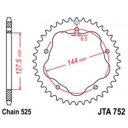 Couronne JT SPROCKETS 36 dents alu ultra-light pas 525 type 752