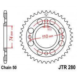 Couronne JT SPROCKETS 33 dents acier standard pas 530 type 280