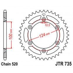 Couronne JT SPROCKETS 36 dents acier standard pas 520 type 735