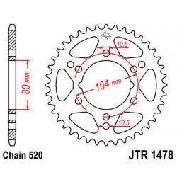 Couronne JT SPROCKETS 36 dents acier standard pas 520 type 1478