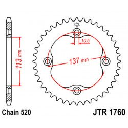 Couronne JT SPROCKETS 36 dents acier standard pas 520 type 1760