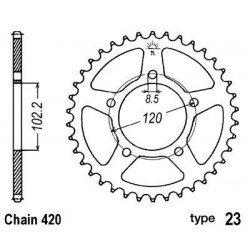 Couronne B1 47 dents acier standard pas 420 type 23