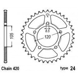 Couronne B1 51 dents acier standard pas 420 type 24