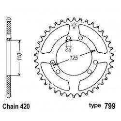 Couronne B1 50 dents acier standard pas 420 type 799