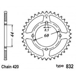 Couronne B1 52 dents acier standard pas 420 type 832