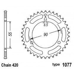 Couronne B1 47 dents acier standard pas 420 type 1077