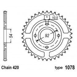 Couronne B1 47 dents acier standard pas 420 type 1078