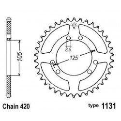 Couronne B1 53 dents acier standard pas 420 type 1131