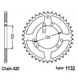 Couronne B1 53 dents acier standard pas 420 type 1132