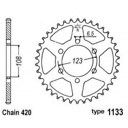 Couronne B1 52 dents acier standard pas 420 type 1133