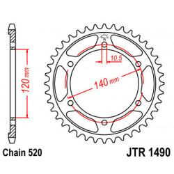 Couronne JT SPROCKETS 37 dents acier pas 520 type 1490