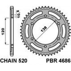 Couronne PBR 37 dents acier standard pas 520 type 4686