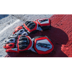 Gants RST Tractech Race CE cuir rouge fluo taille S/08 homme