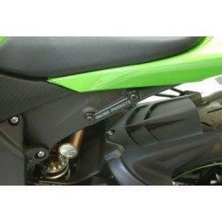 Caches orifices repose-pieds arrière gauche R&G RACING noir Kawasaki ZX6R/RR