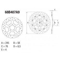 Disque de frein arrière Brembo Serie Oro rond semi-flottant type 78B408A9